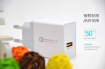 18W White Color Quick Travel Wall Charger with 1USB Ports US EU UK Plug QC 3.0 Wall Charger 5V3A 9V2V 12V1.5A
